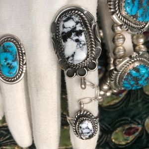 Jewelry - Custom Sterling Buffalo Turquoise Slave Chain Ring
